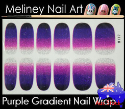 Purple Gradient Full Cover Glitter Nail Art Wraps Stickers Pattern ombre... - $4.96
