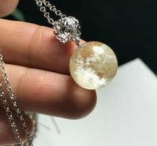 Natural Quartz crystal White phantom ball silver 925 pendant  k032540 - $53.41
