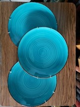 LOT OF 3 ROYAL NORFOLK TURQUOISE SWIRL BROWN RIM DINNER PLATES LABELS NEW - $24.99