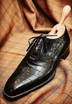 Handmade Men's Black Crocodile Texture Dress/Formal Lace Up Oxford Leather Shoes image 3