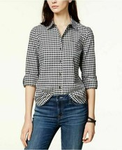 Tommy Hilfiger Cotton Houndstooth Utility Shi BlackWhite L - $59.99