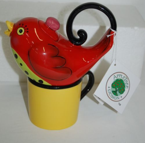 Apple Tree Designs Incorporated Red Bird Tea Pot Cup Individual Size 61536