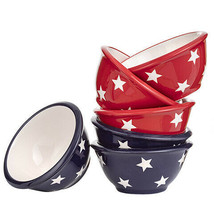 Star Patterned Bowl: Blue/White or Red/White, 4.25 x 2 inches, 2 Assorte... - $8.99