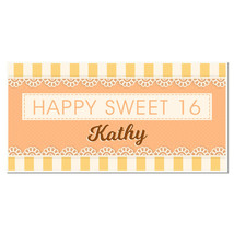 Orange and Yellow Sweet Sixteen 16 Birthday Banner Personalized Party Ba... - $22.28+