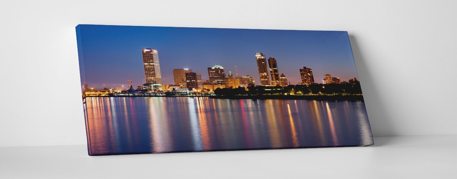 "Primary image for Milwaukee Night Panoramic Gallery Wrapped Canvas Print. 45""x16"" or 30""x16"""