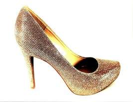 Jessica Simpson Gold Glitter Slip On Dress Pumps Heels Shoes Women's 6 M... - $37.04