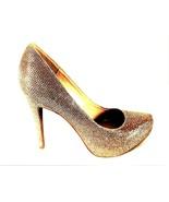 Jessica Simpson Gold Glitter Slip On Dress Pumps Heels Shoes Women's 6 M... - $37.04