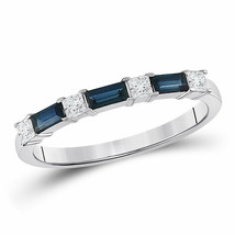 14kt White Gold Womens Baguette Blue Sapphire Diamond Anniversary Ring 5... - £349.09 GBP