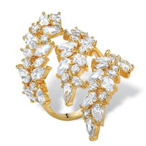 6.84 TCW Pear and Oval-Cut Cubic Zirconia 14k Gold-Plated Wraparound Ring - $34.82