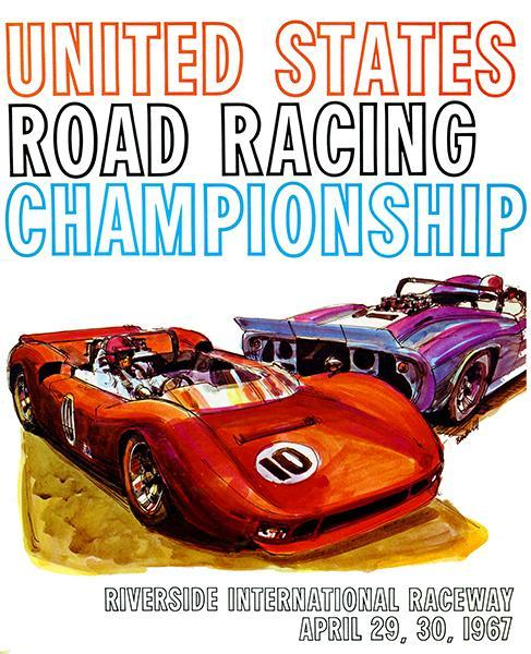Primary image for 1967 Can Am Road Racing Championship - Riverside Promotional Advertising Poster