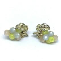 Vintage 50s Grapes on Vine Moonstone Rhinestone Earrings Screw Back - $11.82