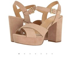 Women's Shoes Michael Kors DIVIA Platform Heels Sandals Suede Dark Khaki Size 10 - $64.60