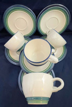 Pfaltzgraff White Coffee Cups Saucers (6) Ocean Breeze 12 Pieces - $41.58