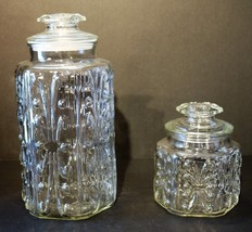 """Set of 2- Vintage Clear Glass Canisters w/Dots & Curls 12"""" & 6 3/4"""" - $28.00"""