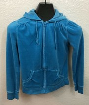 Old Navy Intimates Womens Size XS Teal Blue Velour Hoodie Sweatshirt - $6.92