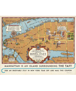 "16""x20.5"" Map 1932 Manhattan New York Hotel Taft History Vintage Wall Art Poster - £12.51 GBP"