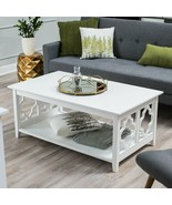 White Rectangular Coffee Table Contemporary Modern Geometric Cutout Lowe... - $276.66