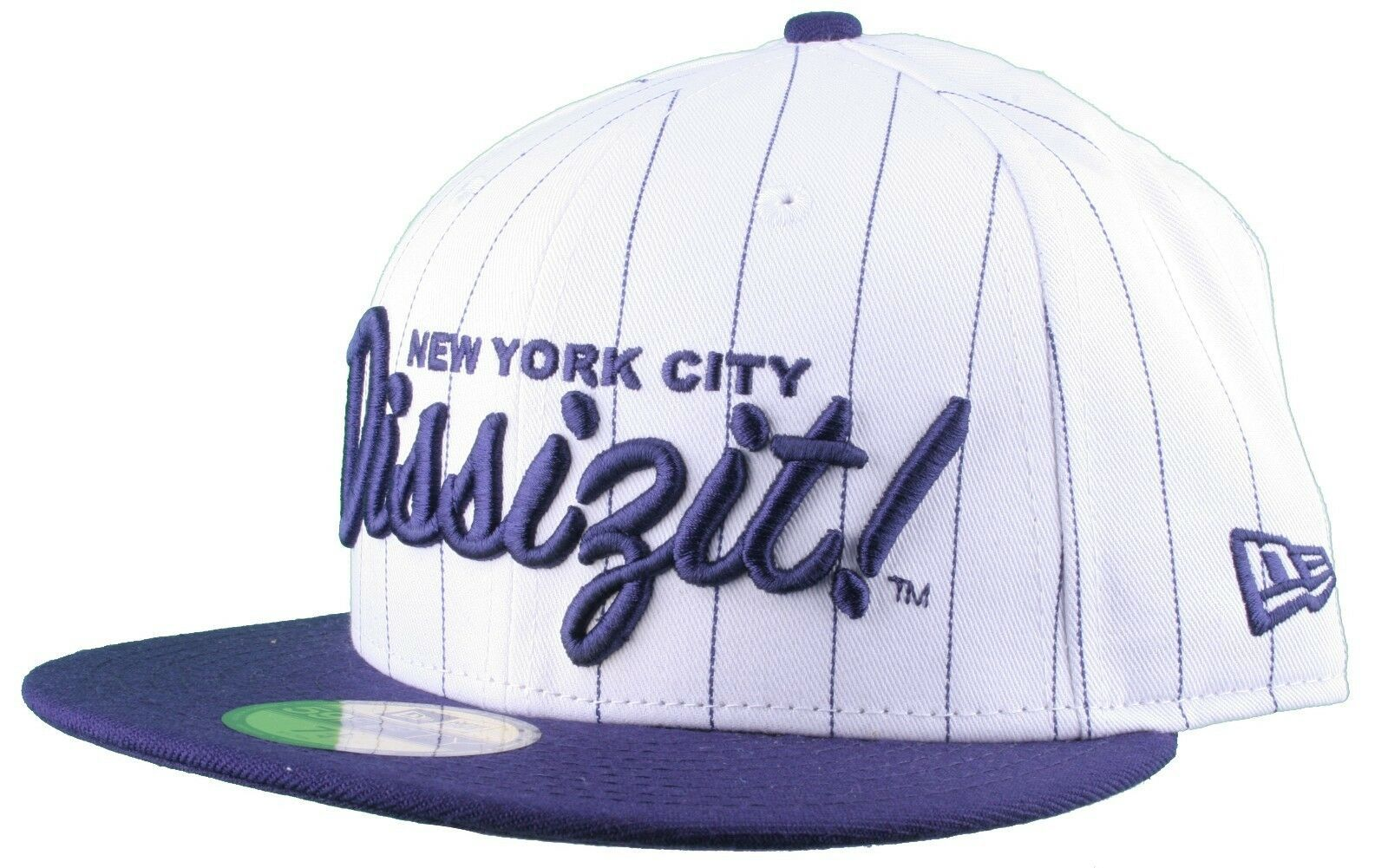 Dissizit New Era Fitted Baseball Cap White/Navy Pinstripe Hat New York City NYC