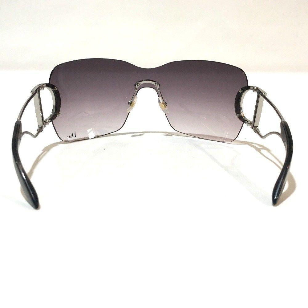 7265166d01a ... AUTHENTIC CHRISTIAN DIOR Logo Rhinestone Sunglasses Gradation  Purple Silver ...