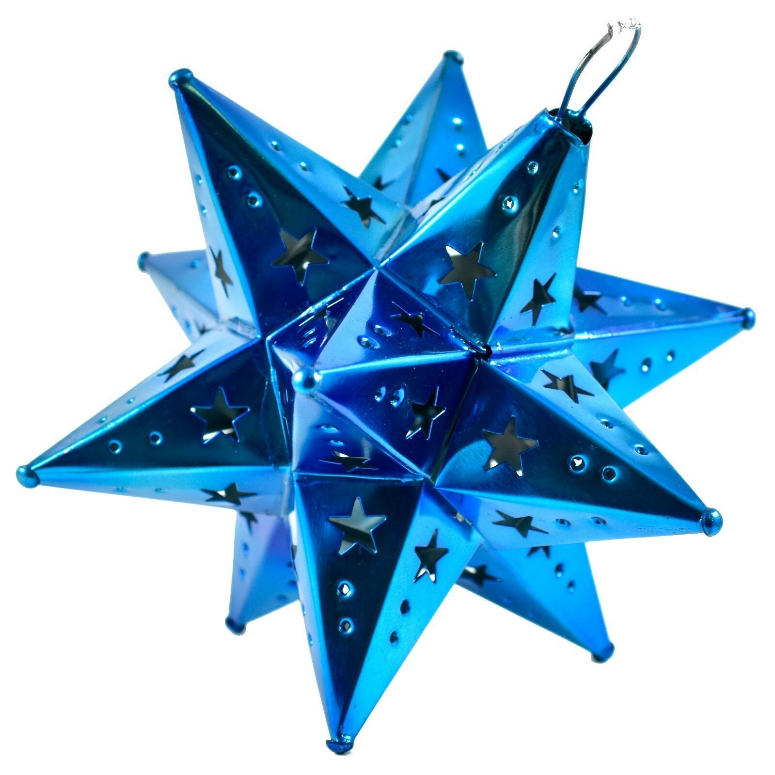 "Small 6.5"" Hanging Tin Indigo Blue Mexican Moravian Star Ornament Decoration"