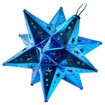"Small 6.5"" Hanging Tin Indigo Blue Mexican Moravian Star Ornament Decoration image 1"