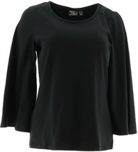 Women with Control 3/4 Bell Slv T-Shirt Black 2X NEW A301325 - $27.70