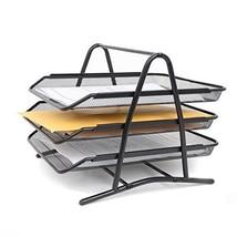 Black Mesh Steel 3 Tier Document Paper Sliding Trays, Stackable Letter S... - €17,41 EUR