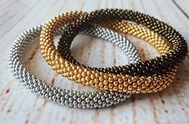 Triple Set Of Beaded Bracelet Silver Bronze Gold Bangle, Seed Beads Brac... - $17.00+