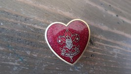 Vintage Boy Scouts Life Scout Be Prepared Heart Shaped Enamel Pin 2.4cm - $11.57