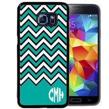 MONOGRAM RUBBER CASE FOR SAMSUNG NOTE 8 5 4 3 TEAL BLACK WHITE CHEVRON - $12.98