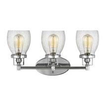 Sea Gull Lighting Belton 21 in. 3-Light Chrome Vanity Light, Clear Seeded Glass  - $79.19