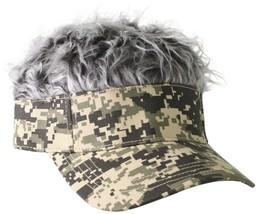 03db58d6516 Flair Realistic Hair Men  39 s Visor Hat Cap With Grey Silver Hair Camo