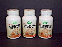3 Bottles Nature's Way Glucosamine Chondroitin 80 Tablets Each 2//2019 N... - $27.71