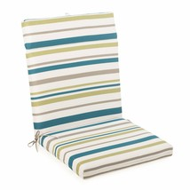 "Blue Green Stripe Outdoor Patio Chair Cushion Pad Hinged Seat Back 44"" L... - $58.90"