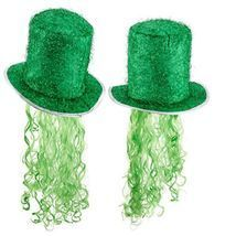 St. Patricks Day Tinsel Hat Decoration Party Hat Curly Wig Green TOP QUA... - €17,98 EUR