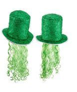St. Patricks Day Tinsel Hat Decoration Party Hat Curly Wig Green TOP QUA... - $20.99