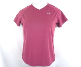 Under Armour Stretch V-Neck Shirt S Short Sleeve Burgundy EUC - $11.98