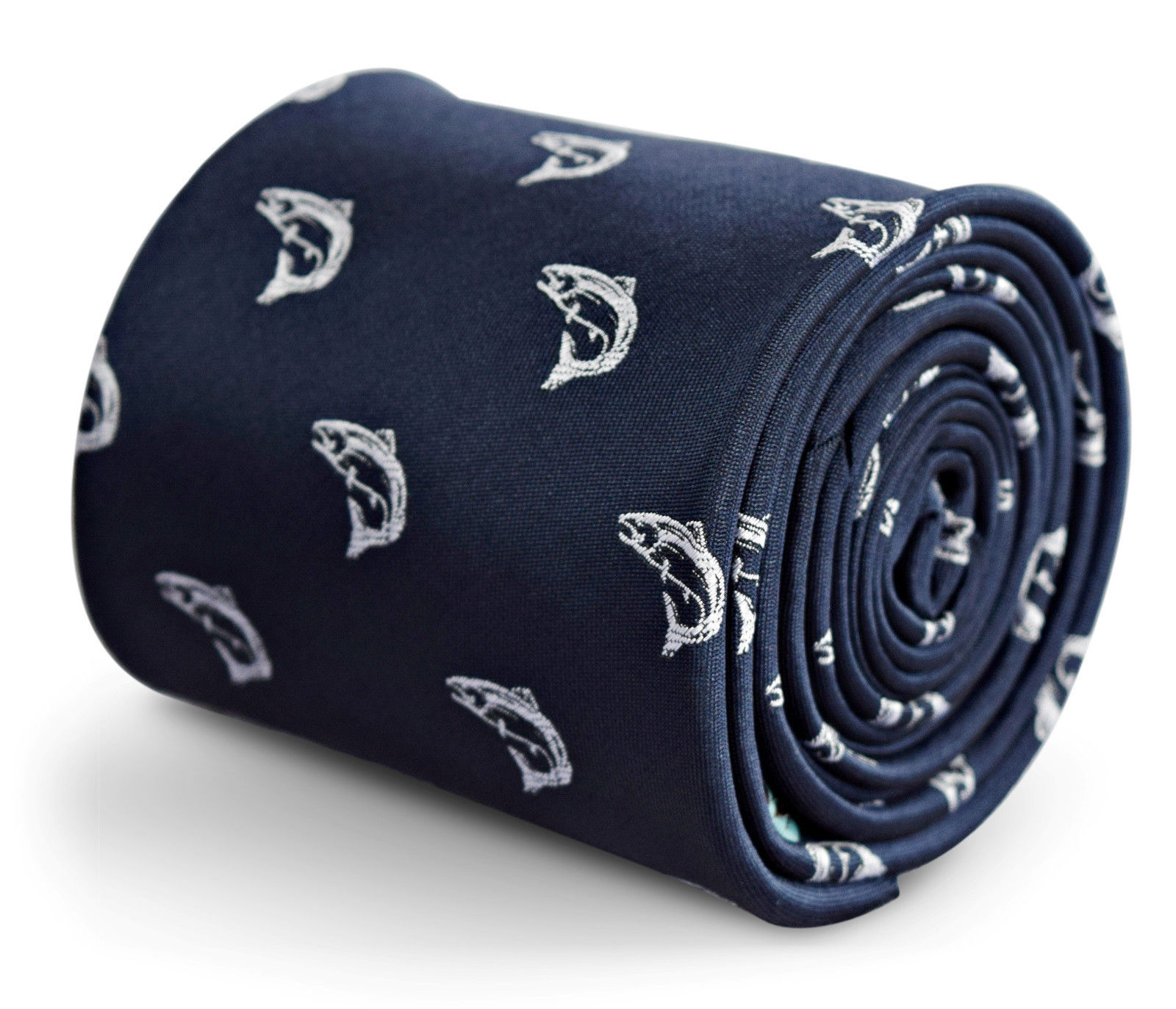 Frederick Thomas navy blue mens tie with trout fish design FT3275