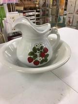 VINTAGE MCCOY STONEWARE pitcher 1515 wash basin bowl 7527 POT STRAWBERRY... - $39.99
