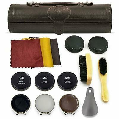 Primary image for 12PC Shoe Polish & Care Kit, Leather Shoe Shine Kit with Brown Wax, Shoe Brushes