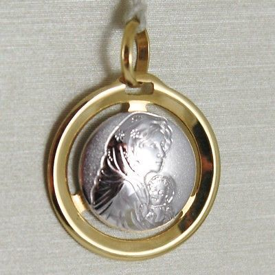 PENDANT MEDAL YELLOW GOLD WHITE 750 18K, MADONNA AND CHRIST, Mary jane and Jesus