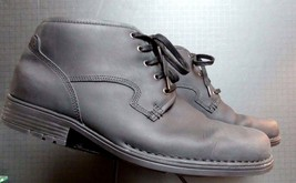 Men's Rockport Charcoal Oiled Leather Ankle Boot Oxford Sz. 46.5/12 EXCE... - $44.17