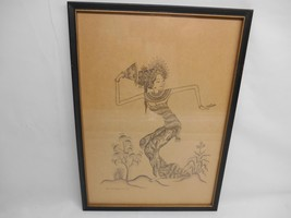 Antique Artist Signed INK SKETCH DRAWING GEISHA GIRL Wall Hanging Pictur... - $98.99