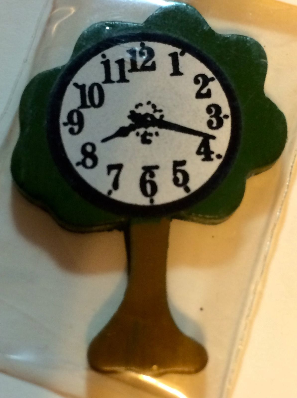DOLLHOUSE MINIATURE WOODEN TREE CLOCK #DH3513
