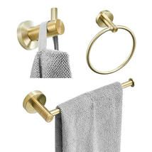 3pcs Golden Bathroom Hardware sets Towel Ring Bar Paper Holder Hook Deco... - $33.73