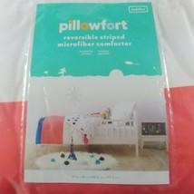 Pillowfort Comforter  Toddler Striped Reversible Pink White Blue 42 X 58 - $24.74