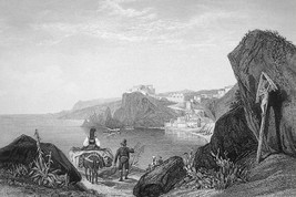 ITALY Calabria Rock & Promontory of Scylla - 155 Years Old Antique Print - $30.60