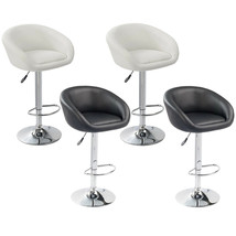 Set of 2 Barstool Artificial Leather Adjustable Swivel Cafe Home White/B... - $115.99