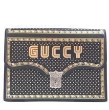 #31640 Gucci Portfolio Logo Book Lock Flap Key On Necklace Leather Clutch - £1,163.42 GBP