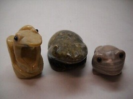 VINTAGE Set of 3 STONE Frog FIGURINES Green GREY Cream COLORED Various D... - $27.41